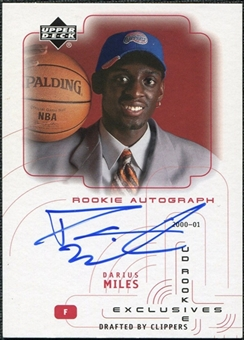 2000/01 Upper Deck SPx Authentics Rookie Exclusives #DM Darius Miles Autograph