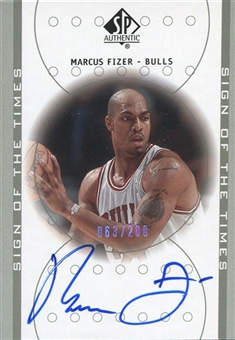 2000/01 Upper Deck SP Authentic Sign of the Times Platinum #FI Marcus Fizer /200