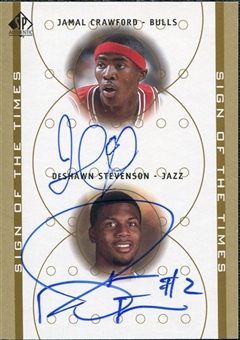 2000/01 Upper Deck SP Authentic Sign of the Times Double #JCDS Jamal Crawford DeShawn Stevenson