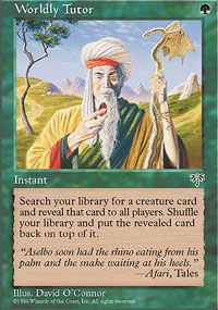 Magic the Gathering Mirage Single Worldly Tutor LIGHT PLAY (NM)