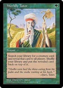 Magic the Gathering Mirage Single Worldly Tutor - MODERATE PLAY (MP)