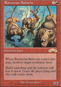 Magic the Gathering Exodus Single Ravenous Baboons UNPLAYED (NM/MT)
