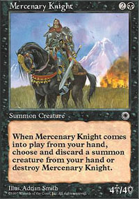 Magic the Gathering Portal 1 Single Mercenary Knight - SLIGHT PLAY (SP)