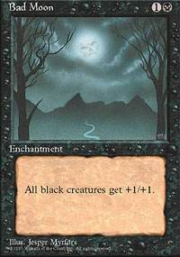 Magic the Gathering 4th Edition Single Bad Moon - MODERATE PLAY (MP)