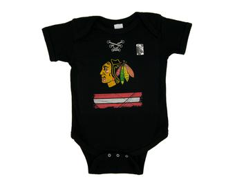 Chicago Blackhawks Old Time Hockey Black Beeler Laces Short Sleeve Creeper