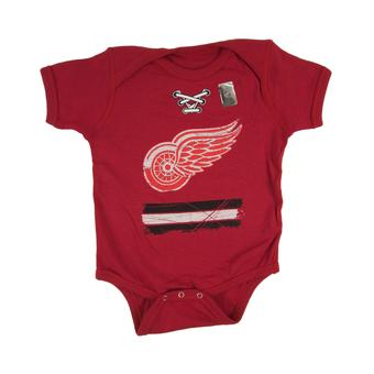 Detroit Red Wings Old Time Hockey Black Beeler Laces Short Sleeve Creeper (Infant 6M)