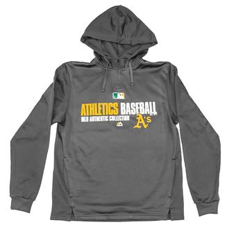 Oakland Athletics Majestic Grey Team Favorite 1/4 Zip Performance Hoodie (Adult L)
