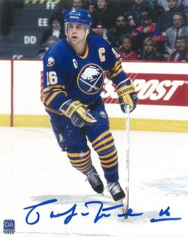 Pat LaFontaine Autographed Buffalo Sabres Blue Throwback 8x10 Photo