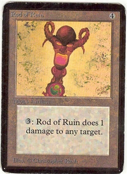 Magic the Gathering Alpha Single Rod of Ruin - MODERATE PLAY (MP)