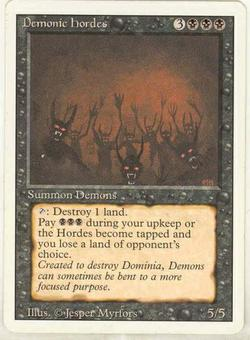 Magic the Gathering 3rd Ed (Revised) Single Demonic Hordes - SLIGHT PLAY (SP)