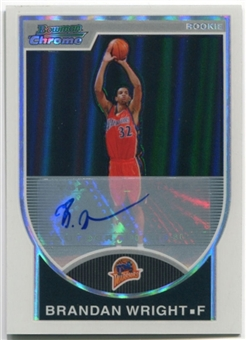 2007/08 Bowman Chrome Refractors Rookie Autographs #160 Brandan Wright /479