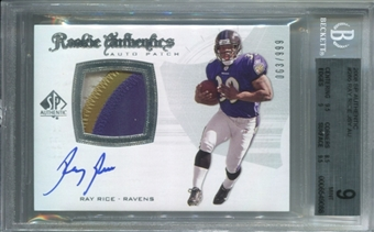 2008 SP Authentic #285 Ray Rice Rookie Autograph Patch BGS 9 Mint *9088
