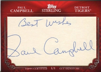 2010 Topps Sterling Cut Signatures #MPS576 Paul Campbell 1/1
