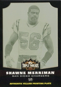 2006 Topps Triple Threads Printing Plate Yellow #29 Shawne Merriman 1/1