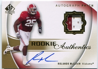2010 SP Authentic Gold #120 Rolando McClain Rookie Patch Autograph /25