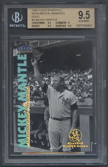 1998 Fleer Tradition #9 Mickey Mantle Monumental Moments Gold #26/51 BGS 9.5