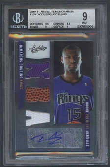 2010/11 Absolute Memorabilia #155 DeMarcus Cousins Rookie Jersey Ball Auto #416/499 BGS 9
