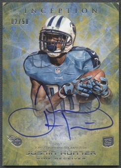 2013 Topps Inception #118 Justin Hunter Yellow Rookie Auto #02/50