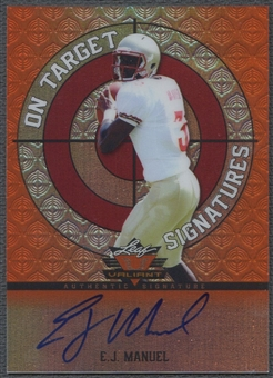 2013 Leaf Valiant Draft #OTEJM EJ Manuel On Target Orange Rookie Auto #14/25