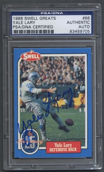 1988 Swell Greats #66 Yale Lary Signed Auto PSA DNA