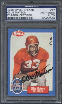 1988 Swell Greats #77 Ollie Matson Signed Auto PSA DNA