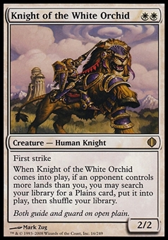 Magic the Gathering Shards of Alara Single Knight of the White Orchid - MODERATE PLAY