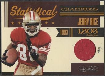 2011 Timeless Treasures #4 Jerry Rice Statistical Champions Materials Jersey #092/100