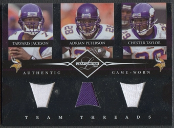 2008 Leaf Limited #9 Tarvaris Jackson Adrian Peterson Chester Taylor Team Threads Triples Jersey #032/100