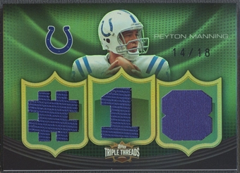 2010 Topps Triple Threads #TTR72 Peyton Manning Relic Emerald Jersey #14/18