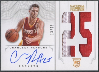 2012/13 Panini National Treasures #129 Chandler Parsons Jersey Number Rookie Patch Auto #13/25