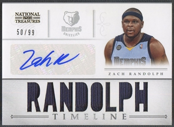 2012/13 Panini National Treasures #17 Zach Randolph Timeline Jersey Auto #50/99
