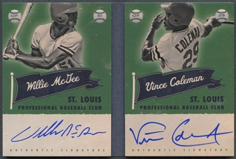 2013 Panini America's Pastime #7 Willie McGee & Vince Coleman Superstar Scripts Booklets Holo Silver Auto #3/5