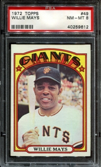 1972 Topps Baseball #49 Willie Mays PSA 8 (NM-MT) *9612