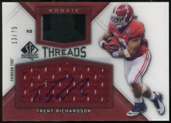 2012 Upper Deck SP Authentic Rookie Threads Autographs #RTTR Trent Richardson Autograph /75