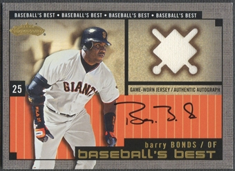 2002 Fleer Showcase #2 Barry Bonds Baseball's Best Memorabilia Gold Jersey Auto #041/100