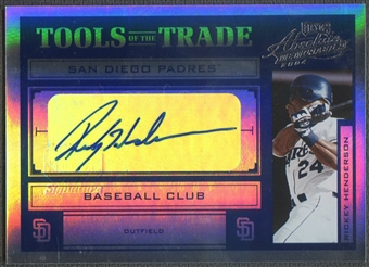 2004 Absolute Memorabilia #122 Rickey Henderson Tools of the Trade Blue Spectrum Padres Auto #2/5