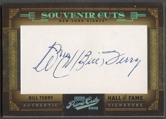 2005 Prime Cuts #4 Bill Terry Souvenir Cuts Cut Auto #18/50