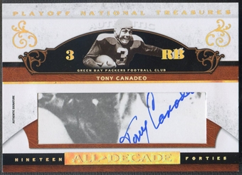 2007 Playoff National Treasures #TC Tony Canadeo All Decade Signature Cuts Auto #037/100