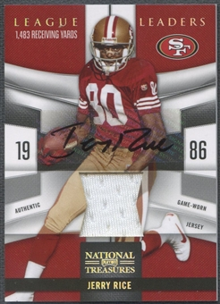 2009 Playoff National Treasures #3 Jerry Rice League Leaders Signature Materials Jersey Auto #15/15