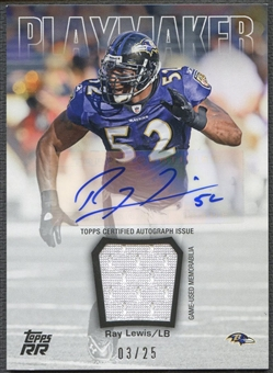 2011 Topps Rising Rookies #PARRL Ray Lewis Playmaker Jersey Auto #03/25