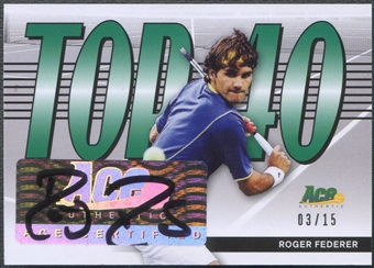 2013 Ace Authentic #T40RF1 Roger Federer Top 40 Auto #03/15