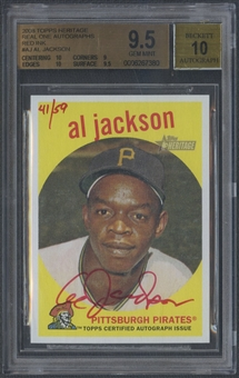 2008 Topps Heritage #AJ Al Jackson Real One Red Ink Auto #41/59 BGS 9.5