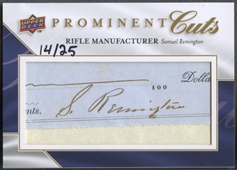 2009 Upper Deck Prominent Cuts #PCSR Samuel Remington Cut Signatures Auto #14/25