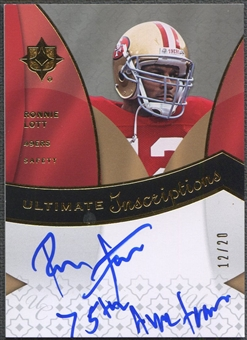 2009 Ultimate Collection #IRL Ronnie Lott Ultimate Inscriptions Auto #12/20