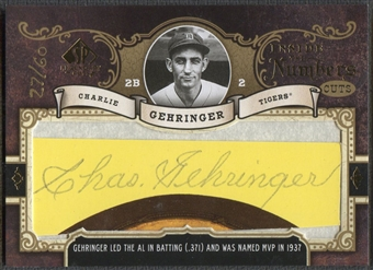 2007 SP Legendary Cuts #CG Charlie Gehringer Inside the Numbers Cuts Auto #27/60