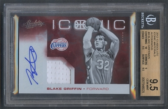 2012/13 Absolute #4 Blake Griffin Iconic Materials Jersey Auto #14/25 BGS 9.5