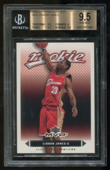 2003/04 Upper Deck MVP #201 Rookie Lebron James RC BGS 9.5 Gem Mint