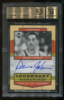 2003/04 Upper Deck Legends #DJ Dennis Johnson Legendary Signatures BGS 9.5 Auto 10