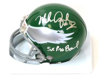 "Mike Quick Autographed Philadelphia Eagles Throwback Mini Helmet w/ ""5X Pro Bowl""  (JSA)"