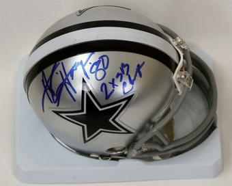 "Alvin Harper Autographed Dallas Cowboys Mini Helmet w/ ""2xSB Champs"" Inscription (JSA)"